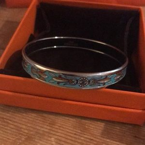 Authentic Hermes printed bracelet, turquoise color